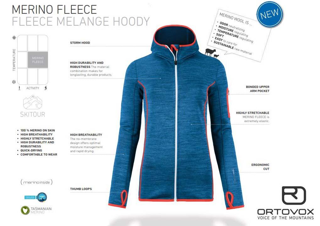 1c10380d2c3 Multifunkčná merino mikina ORTOVOX Fleece Melange s kapucňou alebo ...